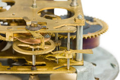 Macro of old clock mechanism Royalty Free Stock Photos