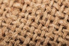 Macro old sackcloth textured background Stock Photos