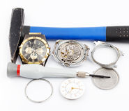 Macro of old watches Stock Photography