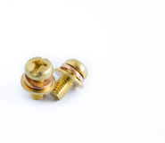 Macro of one brass screw Stock Photo