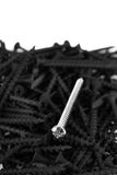 Macro, one brass screw in a pile of black screws Stock Photo