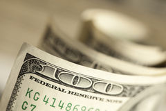 Macro of One Hundred Dollar Bills Royalty Free Stock Photo