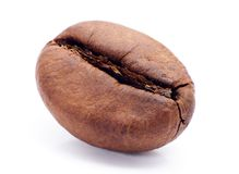Macro of roasted coffee bean isolated on white background Royalty Free Stock Photography