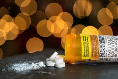 Macro of oxycodone opioid tablets Royalty Free Stock Photography