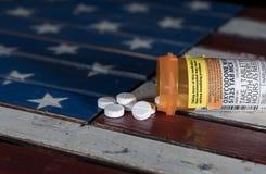Macro of oxycodone opioid tablets Stock Photo