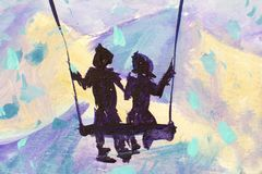 Macro painting fairy tale, abstraction male and girl ride on swing. mountains in background. illustration to book. Closeup Hand painted Oil painting fairy tale stock photography