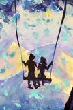Macro painting fairy tale, abstraction male and girl ride on swing. mountains in background. illustration to book. Closeup Hand painted Oil painting fairy tale stock images