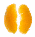 Macro of peeled orange lobules Royalty Free Stock Photography
