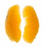 Macro of peeled orange lobules. Orange slices isolated on white background Royalty Free Stock Photography