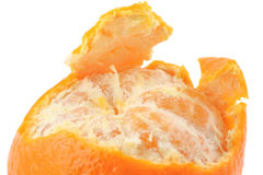 Macro of a peeled tangerine Royalty Free Stock Photos