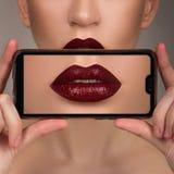 Macro perfect lip makeup. Macro photo face details stock images