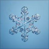 Macro pezzo del fiocco di neve naturale blu di ghiaccio Fotografie Stock