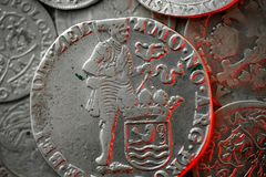 Macro of ancient silver medieval coin. Macro photo of an ancient silver medieval coins stock images
