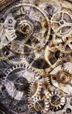 Grey and yellow old and abstract pinion mechanism background. Macro photo with background from old and dirty pinion mechanism Stock Photography