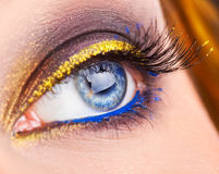 Macro photo of blue eye looking away. Professional make up on ey Royalty Free Stock Photography