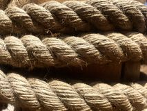 Photo of a braided rope around a post royalty free stock photography