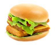 Macro photo of bright fresh isolated burger royalty free stock photography