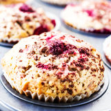 Macro Photo of Cherry muffins with chocolate sprinkles in baking Stock Images