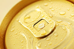 Macro photo of cold beer can Stock Image