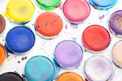 Macro photo of colorful watercolor paints Stock Photography
