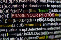 Macro photo of computer screen with program source code and highlighted SPYWARE inscription in the middle. Script on the Royalty Free Stock Image