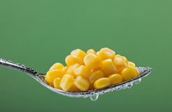 Macro photo of corn on the spoon. Stock Photo