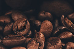 Macro photo of dark coffee beans Royalty Free Stock Image