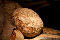Macro photo of delicious big round baked bread stock photography