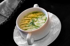 Macro photo of a delicious mashed soup with broccoli. In a restaurant Stock Photography