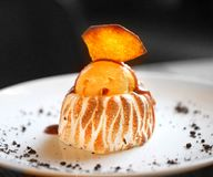 Macro photo of delicious pumpkin pie with ice cream. In a restaurant Royalty Free Stock Images