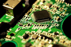 Macro photo of electronic circuit board of computer chip Stock Photos