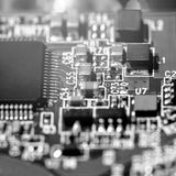 Macro photo of electronic circuit board of computer chip Royalty Free Stock Photo