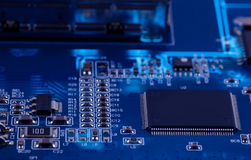 Macro photo of electronic circuit. PCB on the lighting. Royalty Free Stock Photos