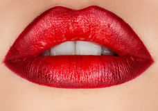 Macro photo of female lips with make up Royalty Free Stock Images