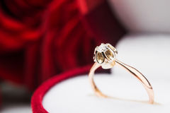 Macro photo of golden ring with diamont Stock Images