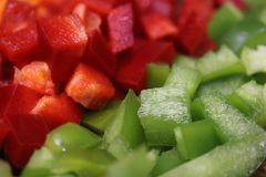 Macro photo of diced vegetables Royalty Free Stock Images