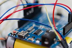 Macro photo of a little embedded systems motherboard with attach. Ed cables Stock Image