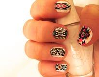 Boho style nails design stock photo