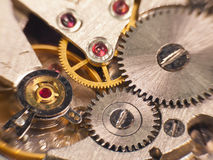 Macro photo of the mechanism of a watch. Soft focus Stock Photography