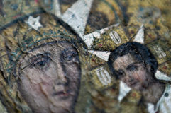 Macro photo miracle icon of the Virgin Mary fresco Christ Royalty Free Stock Image