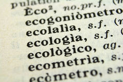 Macro photo. Macro picture of words in vocabulary Royalty Free Stock Photos