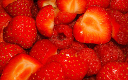 Macro photo of Raspberries and Strawberries Stock Photography