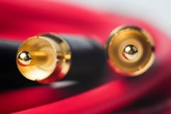 Macro photo of RCA audio cables Stock Photo