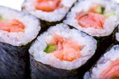 Macro photo of roll with salmon Royalty Free Stock Photos