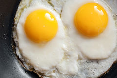 Macro photo of two scrambled eggs in frying pan Royalty Free Stock Photography