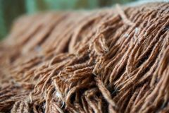 Macro photo of wool from the carpet. Homemade soft blanket royalty free stock photography