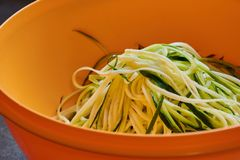 Macro photo of zucchini noodles royalty free stock photo