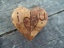 Macro Photograph of Brown Wooden Heart with Carved Edges Stock Photography