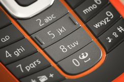 Macro Photograph of a Cell phone keyboard Royalty Free Stock Images