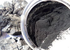 Macro Photograph of Charcoal Powder. Macro photograph of jar of black activated charcoal powder. Background shows pieces of hardwood charcoal royalty free stock photo